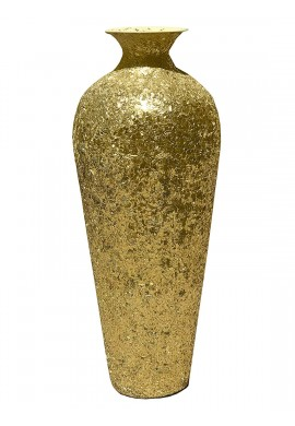 DecorShore Bella Palacio Gold Vase with Crackled Glass Mosaic -Artisan Metal Accent Vase with Sparkling Metallic Glass Flake Overlay, 20 in. Decorative Vase