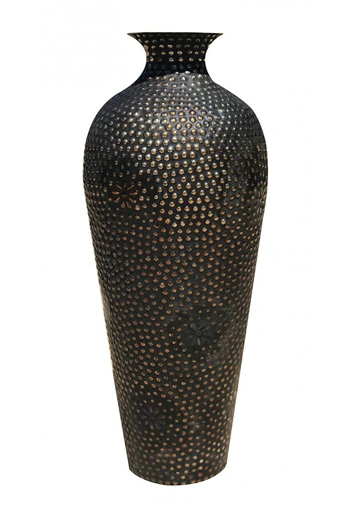 DecorShore Rustic Floor Vase - Artisanal Cast Iron Metal Accent Vase with Antique Copper Floral Pattern,