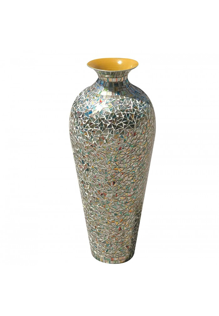 DecorShore Bohemian Rhapsody Vase Rainbow Glass Mosaic - Metal Accent Vase with Sparkling Metallic Glass Flake Overlay